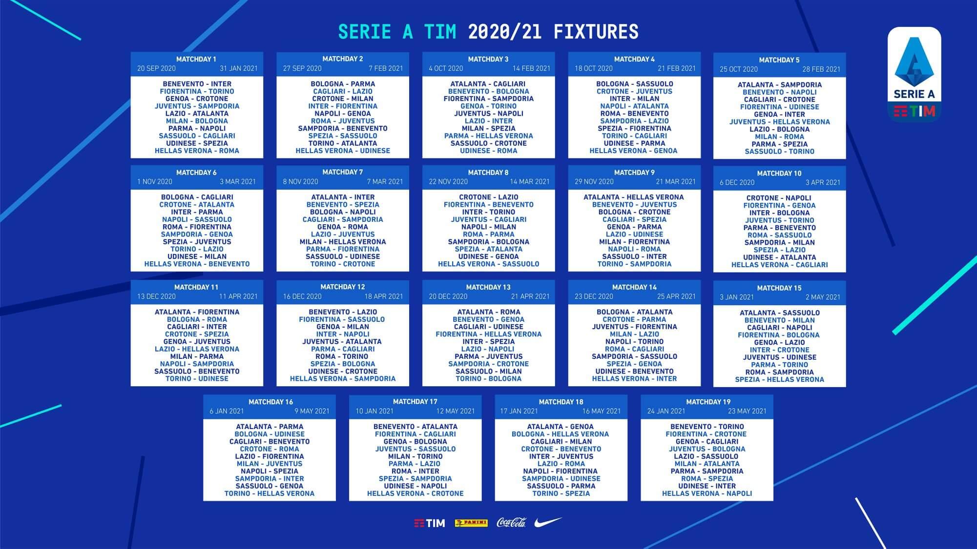 Calendrier Serie 2021 OFFICIEL : Calendrier de la Serie A 2020/2021   Serie A